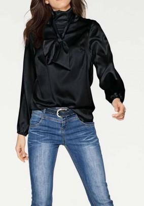 Silk blouse with slip tie, black