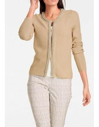 Smėlinis megztinis su perlais