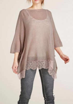 Oversize sweater with lace, rose