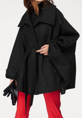 Cape with belt, black