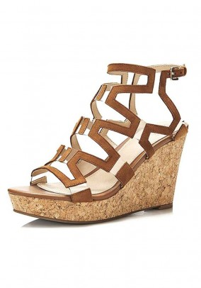 Velours leather sandal with wedge heel, brown
