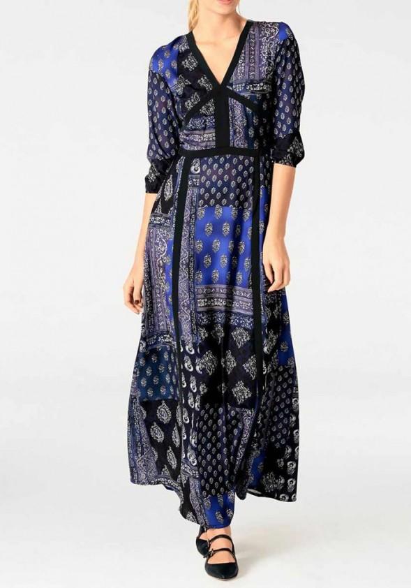 Mėlyna marga maxi suknelė