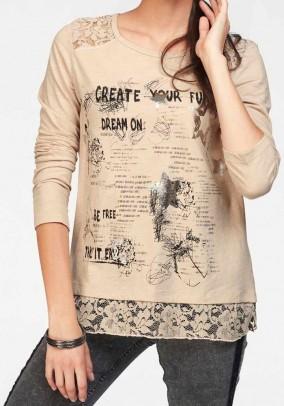 Print shirt, beige
