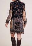 Print dress with slip tie, black-multicolour
