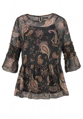 Print blouse and top, black-multicolour