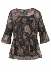 Print blouse and top, black-multicolour