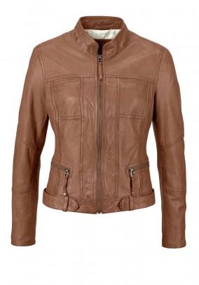 Lamb nappa leather jacket, cognac