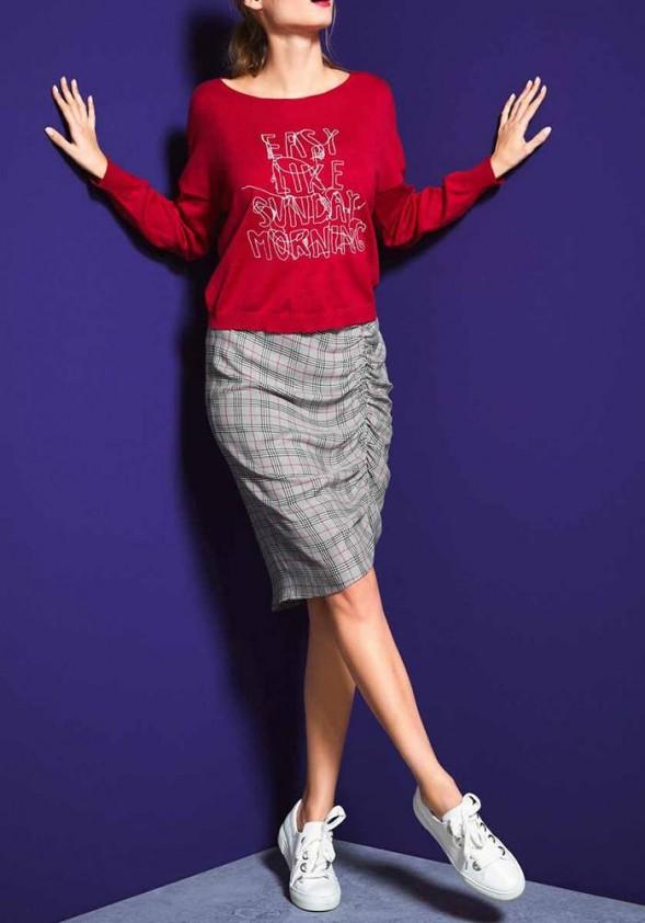 Asimetrinis languotas sijonas