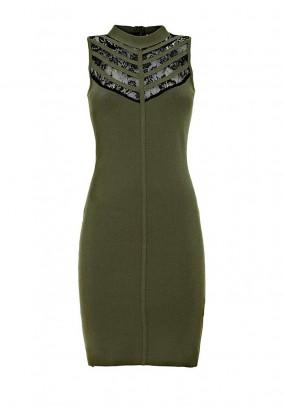 Fine knit dress with lace, olive