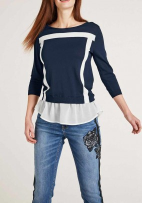 Two-in one sweater, navy-white