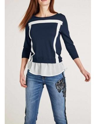 Mėlyna palaidinė su marškinių imitacija