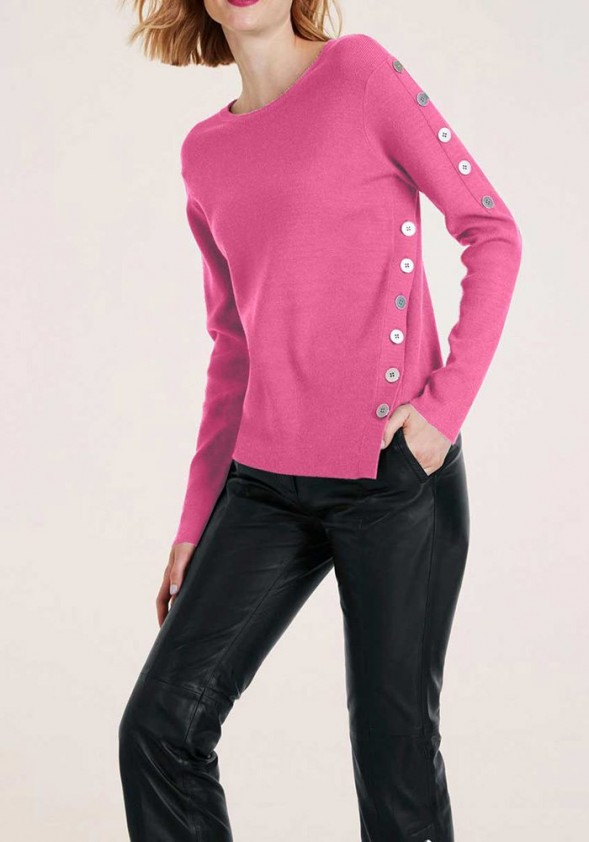Sweater with buttons, pink