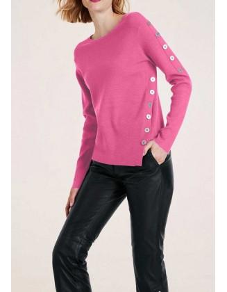 Rožinis megztinis su sagomis