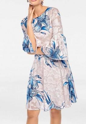 Dress with flounces, cream-blue