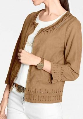 Velour leather jacket, cognac