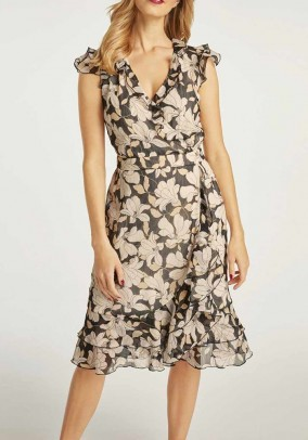 Print dress with flounces,taupe