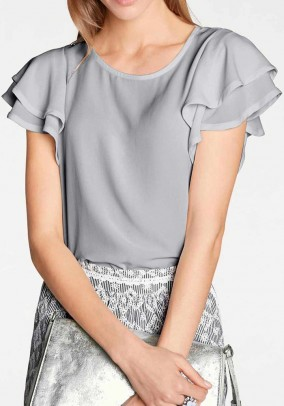 Blouse with flounces, grey