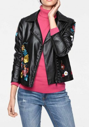 Biker jacket with embroidery, black-multicolour