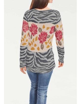 Margas gėlėtas megztinis