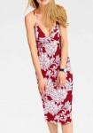 Jersey dress, red-ecru
