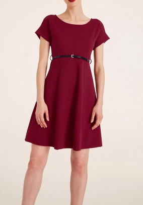 Dress with belt, bordeaux