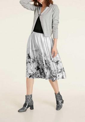 Satin skirt, cream-grey-multicolour