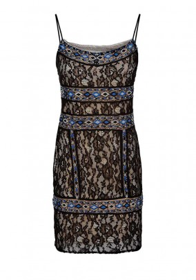 Lace dress with embroidery, black-blue