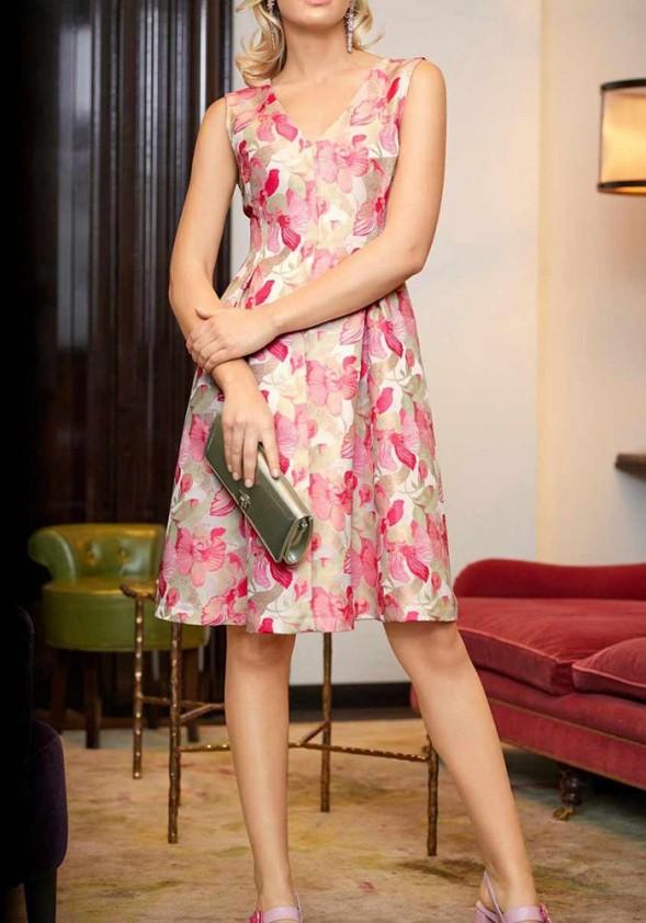 Jacquard dress, cream-rose