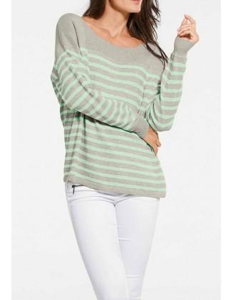 "Dryžuotas kašmyro megztinis ""Mint"""
