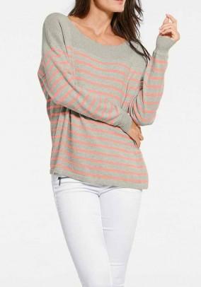 Cashmere sweater, grey-apricot
