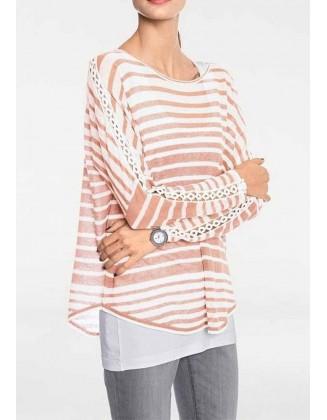 Lininis dryžuotas megztinis