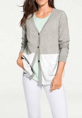 Cashmere cardigan, grey-offwhite