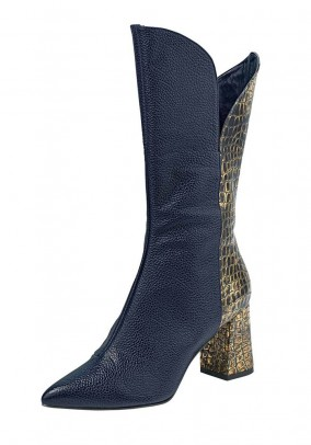 Leather boots, blue-gold coloured
