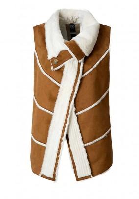 Faux leather vest, cognac-white
