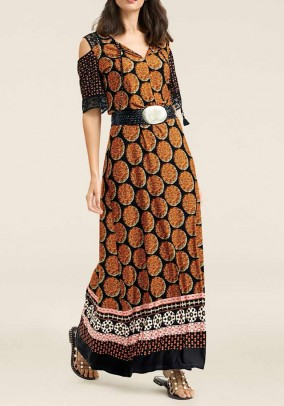 Maxi dress with cut-outs, multicolour