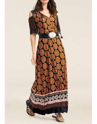 Ilga ruda suknelė