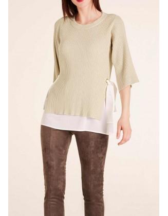 Smėlinis dvisluoksnis megztinis