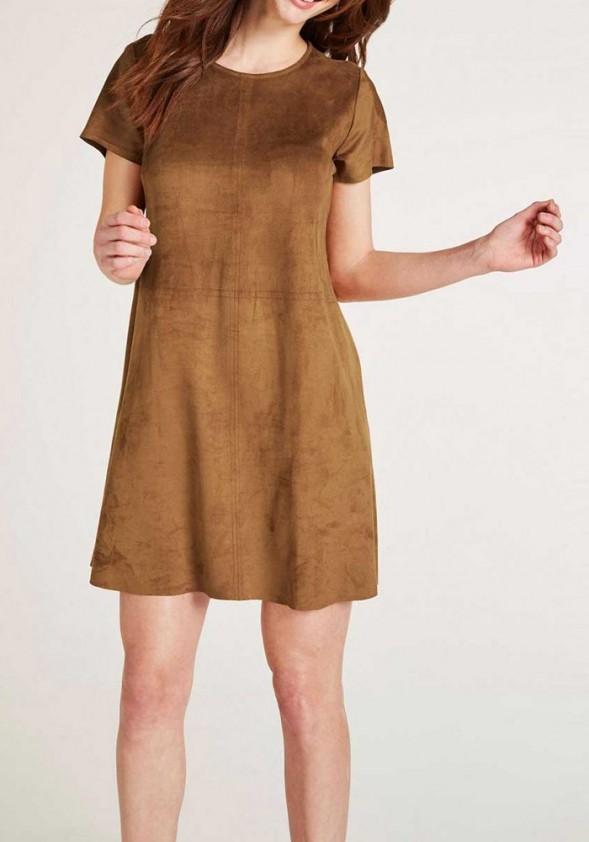 Ruda veliūro suknelė