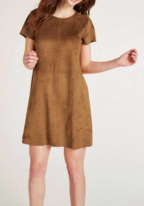 Velours leather imitation dress, cognac