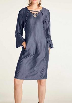 Denim dress with laces, blue-denim