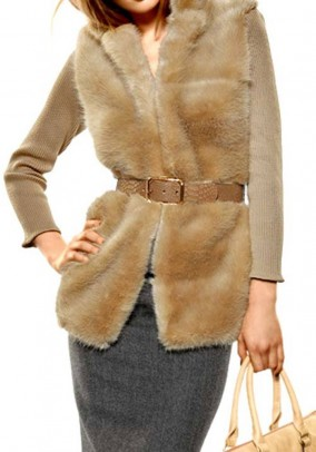 Sweater with faux fur, camel