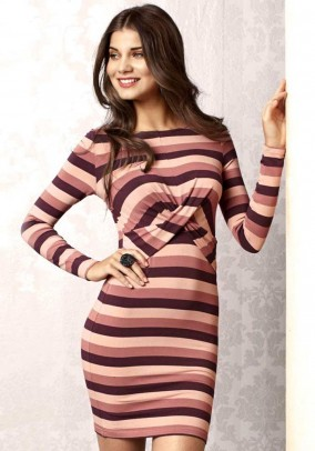 Dress with drapings, stripes