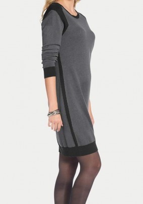 Fine knit dress, grey-black