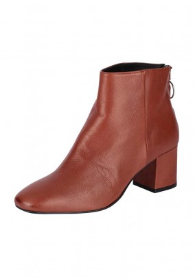 Leather bootie, rusty brown