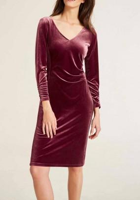 Bordo spalvos aksomo suknelė
