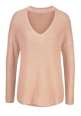 Sweater with cut-outs, rose