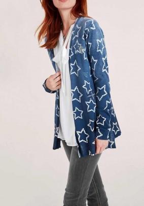 Fine knit cardigan with strass, blue