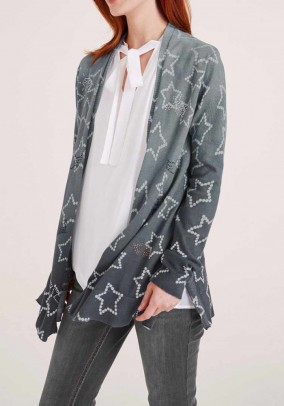 Fine knit cardigan with strass, grey