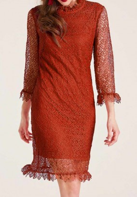Crochet lace dress with ruffles, brick red
