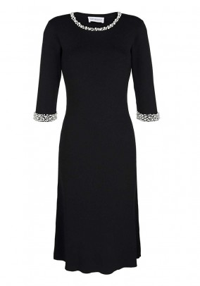 Knit dress with beads, black